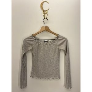 Brandy Melville Long Sleeve Solid Tops Gray